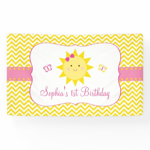 Cute Chevron Sunshine Birthday Banner