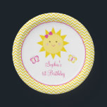 "Cute Chevron Sunshine Birthday Paper Plate<br><div class=""desc"">These adorable birthday paper plates feature our sweet sunshine illustration with a chevron pattern.</div>"