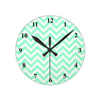 Cute chevron wall clock | Turquoise zigzag stripes