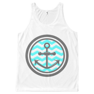 Cute Chevron Zigzag Pattern Anchor Smile All-Over Print Tank Top