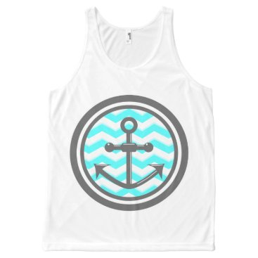 Beach Themed Cute Chevron Zigzag Pattern Anchor Smile All-Over-Print Tank Top