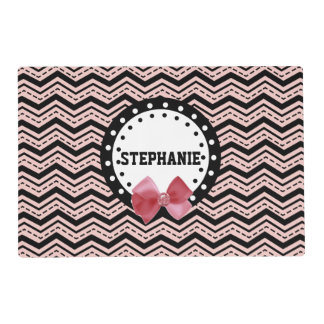 Cute Chevrons, Dots, and Bow Pink and Black Z17A Placemat