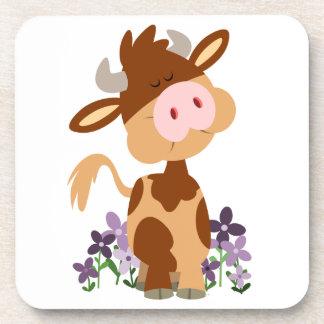 Cute Chewing Cartoon Cow Coasters Set