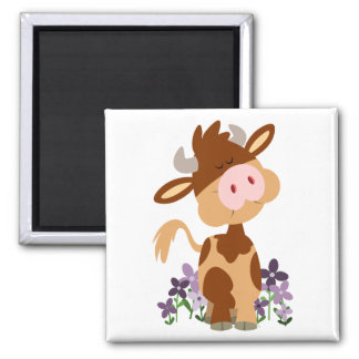Cute Chewing Cartoon Cow Magnet