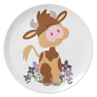 Cute Chewing Cartoon Cow Plate