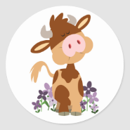 Cute Chewing Cartoon Cow Sticker