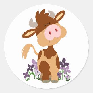 Cute Chewing Cartoon Cow Sticker