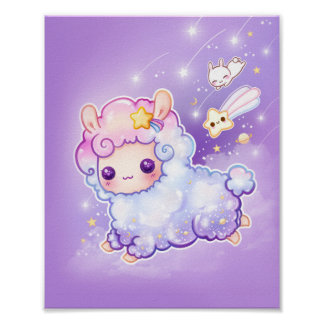 Cute chibi alpaca with kawaii shooting star poster