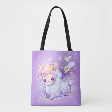 Chibibunny Cute chibi alpaca with kawaii shooting star tote bag