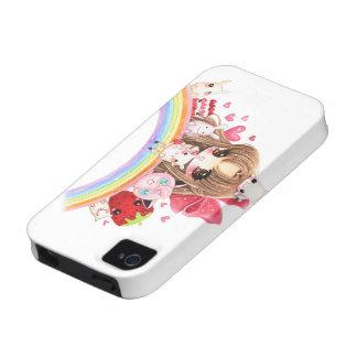 Cute chibi and kawaii animals sitting on rainbow iPhone 4/4S covers
