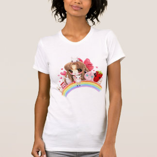 Cute chibi and kawaii animals sitting on rainbow T-Shirt
