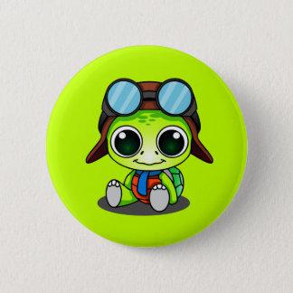 Cute Chibi Aviator Turtle Pinback Button