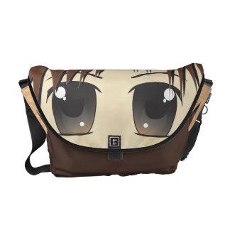 Cute Chibi Brown Eyes Courier Bag