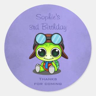 Cute Chibi Cartoon Turtle birthday thank you Classic Round Sticker
