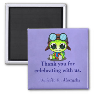 Cute Chibi Cartoon Turtle in Aviator Hat Thank You Magnet