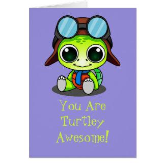 Cute Chibi Cartoon Turtley Awesome Card