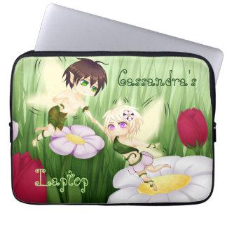 Cute Chibi Fairy Boy and girl medium Laptop Sleeve