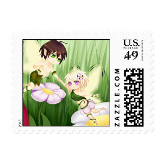 Cute Chibi Fairy Boy and girl Postage Stamp