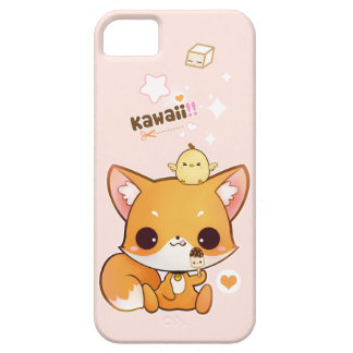 Cute chibi fox with kawaii chick and icecream iPhone SE/5/5s case