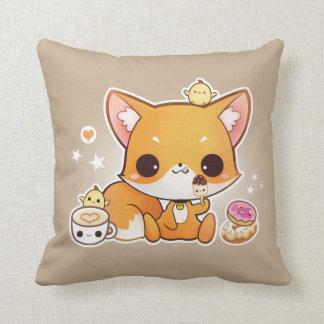 Cute chibi fox with kawaii icecream pillow