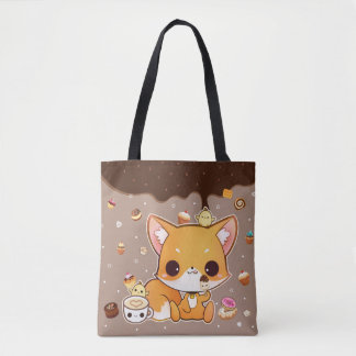 Cute chibi fox with kawaii icecream tote bag