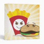 cute chibi fries and hamburger notebook binder