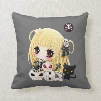 Cute chibi girl and kawaii skulls and black cat throw pillows