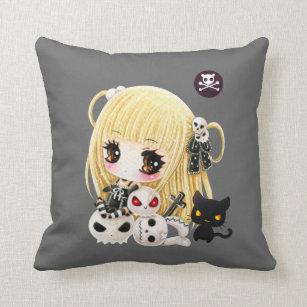 cute chibi girl pillows decorative throw pillows zazzle