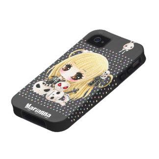 Cute chibi girl and kawaii skulls Case-Mate iPhone 4 case