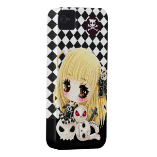 Cute chibi girl and kawaii skulls Case-Mate iPhone 4 cases