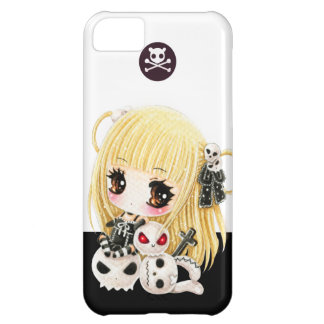 Cute chibi girl and kawaii skulls cover for iPhone 5C