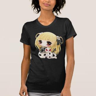 Cute chibi girl and kawaii skulls tee shirt