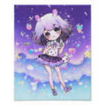 Cute chibi girl in kawaii pastel galaxy poster