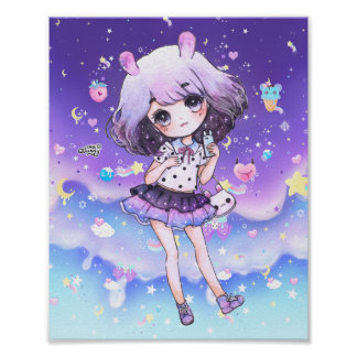 Cute chibi girl in kawaii pastel galaxy poster