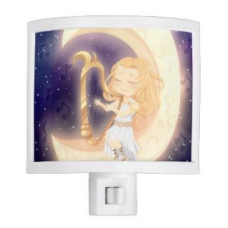 Cute Chibi girl playing the harp on the moon Night Lights