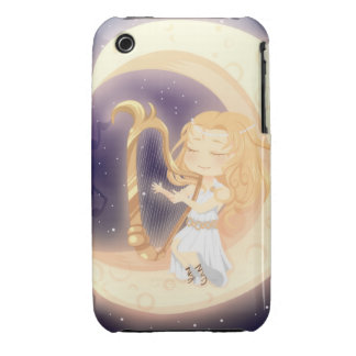 Cute Chibi girl playing the harp on the moon iPhone 3 Case