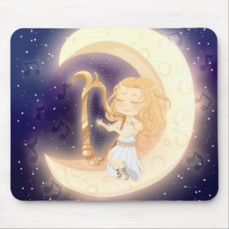 Cute Chibi girl playing the harp on the moon Mouse Pad