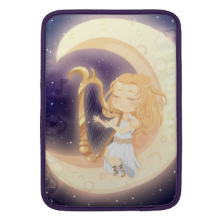 Cute Chibi girl playing the harp on the moon Sleeve For MacBook Air