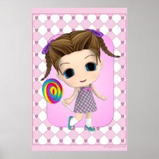 Cute Chibi Girl Poster print