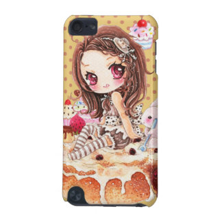 Cute chibi girl sitting on a delicous cinnamon bun iPod touch (5th generation) cases