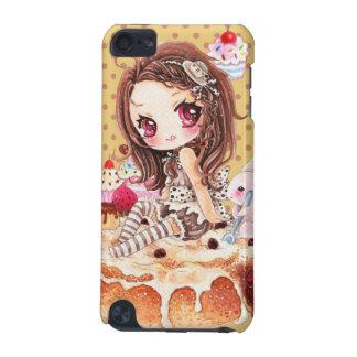 Cute chibi girl sitting on a delicous cinnamon bun iPod touch 5G case