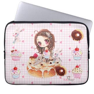 Cute chibi girl sitting on a delicous cinnamon bun laptop sleeve