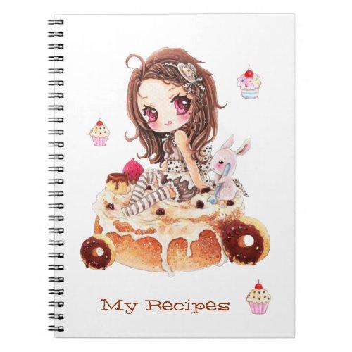 Cute chibi girl sitting on a delicous cinnamon bun notebook