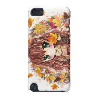 Cute chibi girl with autumn leaves and fruits iPod touch (5th generation) cover