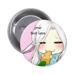 Cute chibi girl with bunny ears button