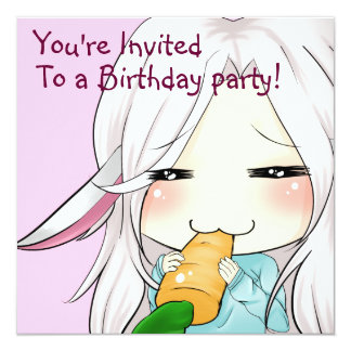 "Cute chibi girl with bunny ears invitations 5.25"" square invitation card"
