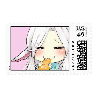 Cute chibi girl with bunny ears postage stamps