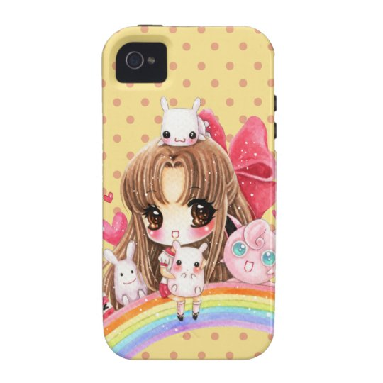 Cute chibi girl with cute bunny sitting on rainbow Case-Mate iPhone 4 case