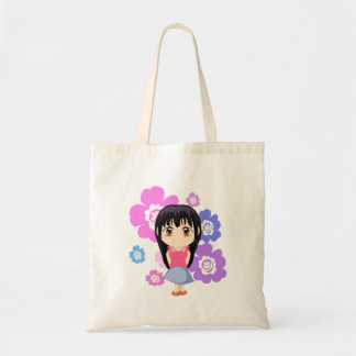 Cute Chibi Girl with Flowers Tote Bag
