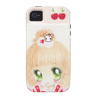 Cute chibi girl with kawaii cherries Case-Mate iPhone 4 cases